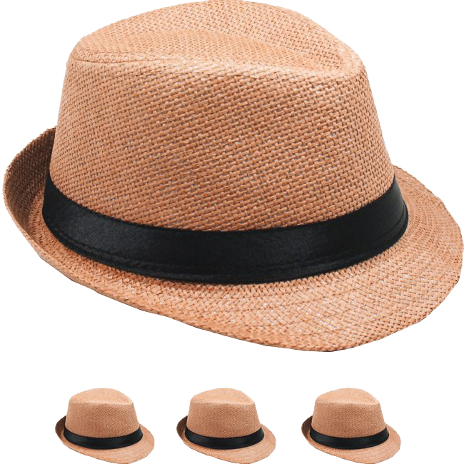 Brown Paper Straw Black Banded Kid Trilby Fedora Hat (002)