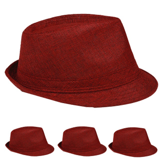 Beach Party Maroon Color Adult Trilby Fedora Hat (014)