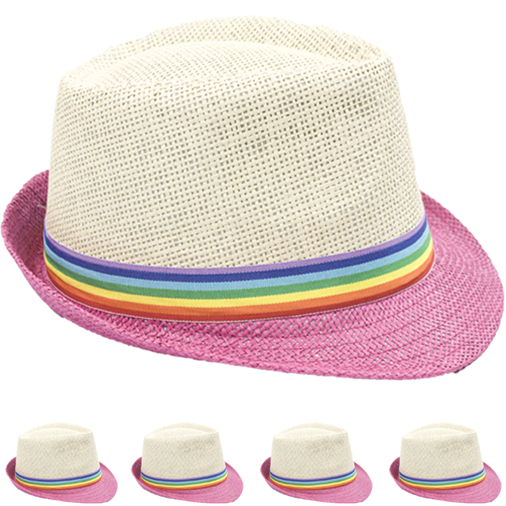 Trilby Fedora Straw Hat with Rainbow Strip Band (047)