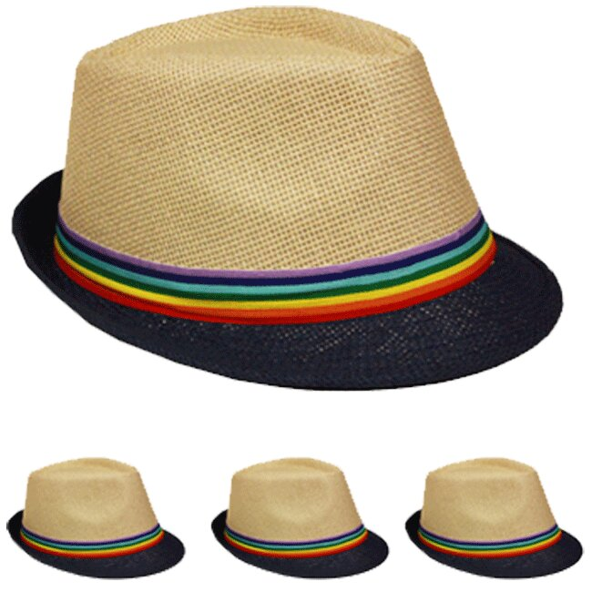 Brown Trilby Fedora Straw Hat with Rainbow Strip Band (049)