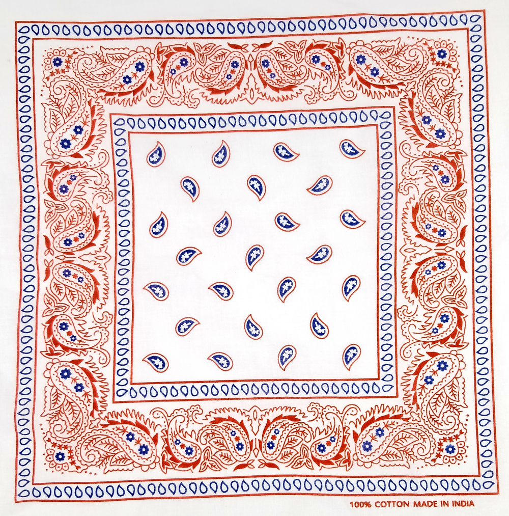 Blue Red Paisley Printed Cotton Bandana  (052)