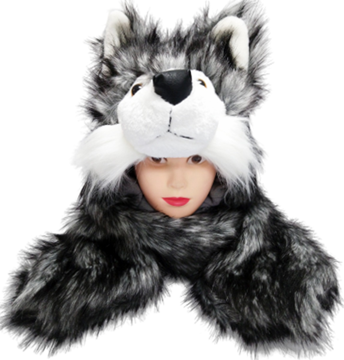 Soft Faux Fur Husky Animal Character Builtin Paws Mittens Hat (094)