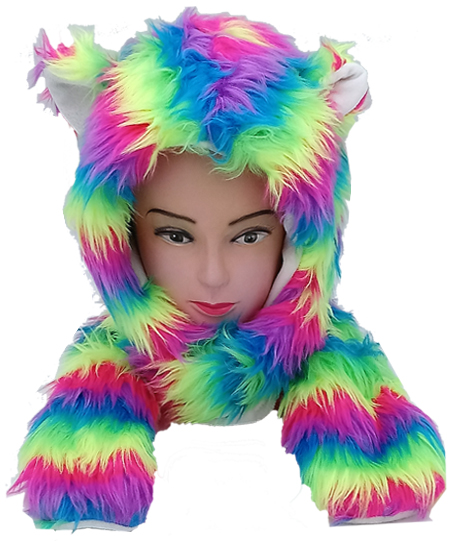 Soft Faux Fur Rainbow Animal Hat with Builtin Paws Mittens (096)