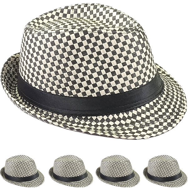 Black & White Checkered Party Trilby Fedora Hat Set (097)