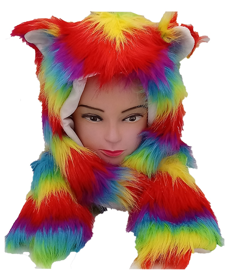 Rainbow Fur Animal Hat with Builtin Paws Mittens (099)