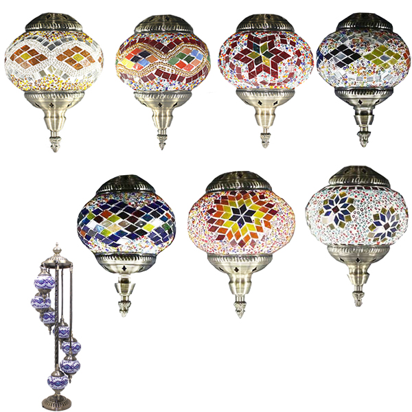 Hand Made Mosaic Glass Lamp - Without Bulb (417)