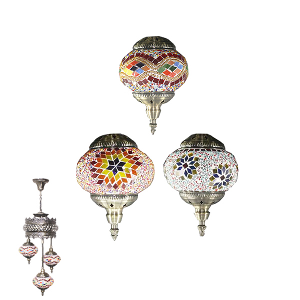 Hand Made Mosaic Ceeling Lamp 3 Glass - Without Bulb (607)