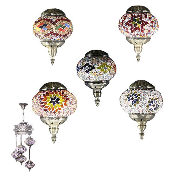 Hand Made Mosaic Glass Lamp 5 Glass - Without Bulb  (620)