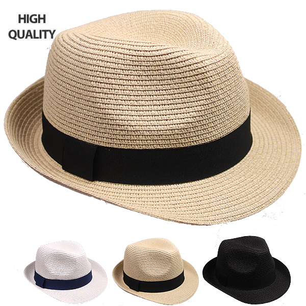 High Quality Paper Braid Straw Trilby Fedora Hat Set (810)