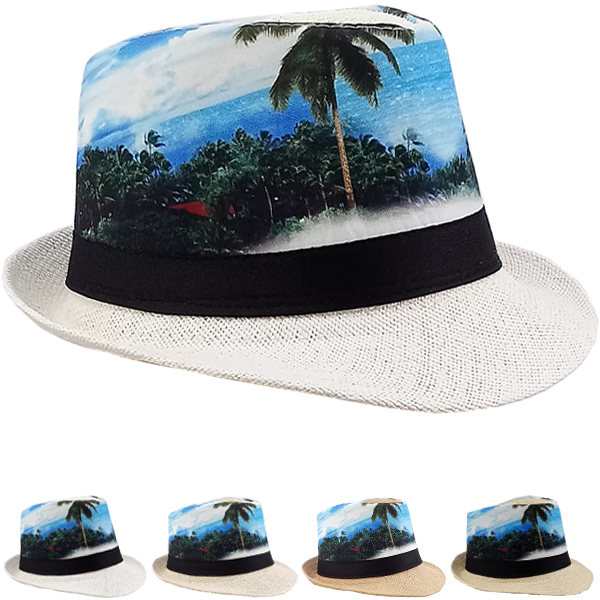 Tropical Beach Print Trending Trilby Fedora Hat (155)