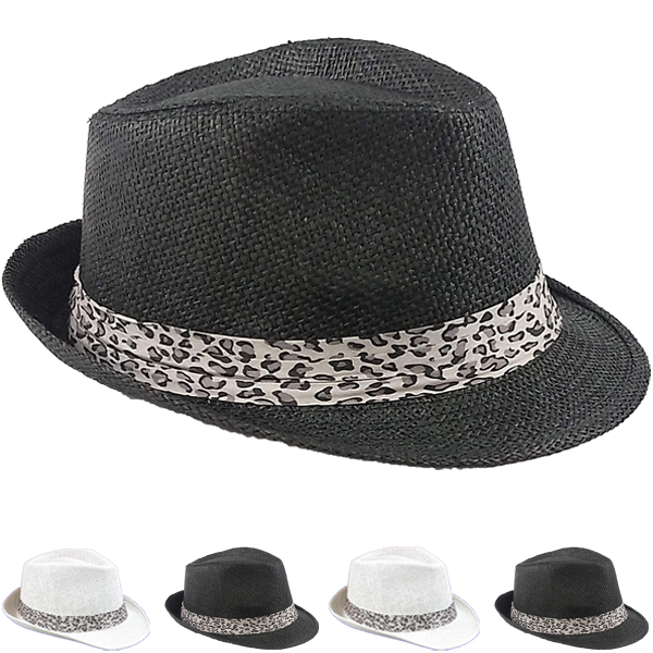 Panther Ribbon Mix Color Trilby Fedora Hat Set (032)