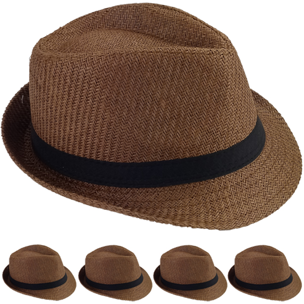 Elegant Coffee Color Toyo Straw Trilby Fedora Hat (0205)