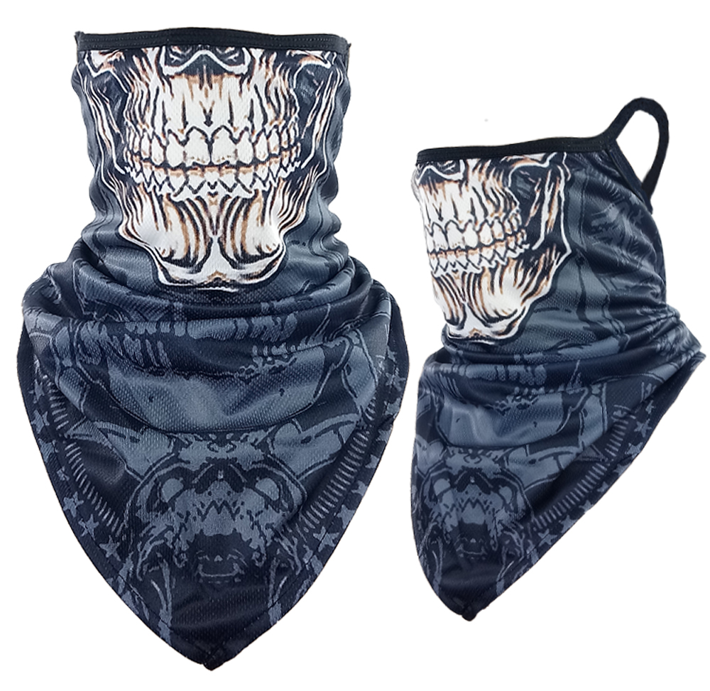 Skull Face Print Triangle Face Shield (216)