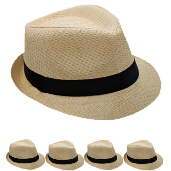 Beige Straw Trilby Fedora Hat with Black Ribbon Band (102)
