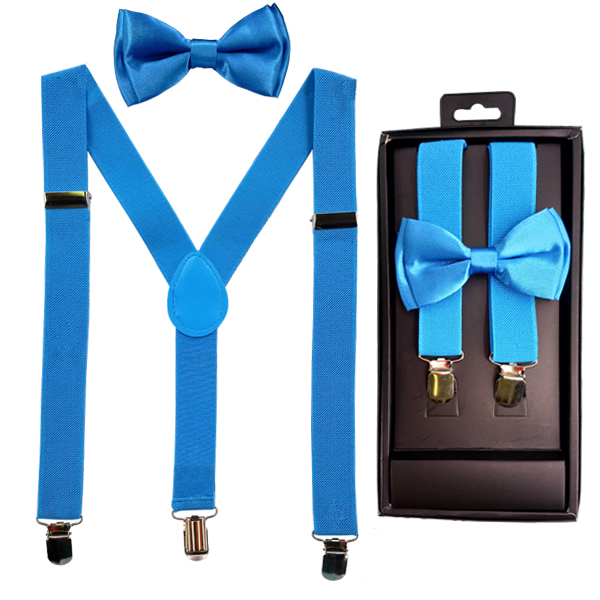 KID SUSPENDER 507 LIGHT BLUE KID BOWTIE AND SUSPENDER SET