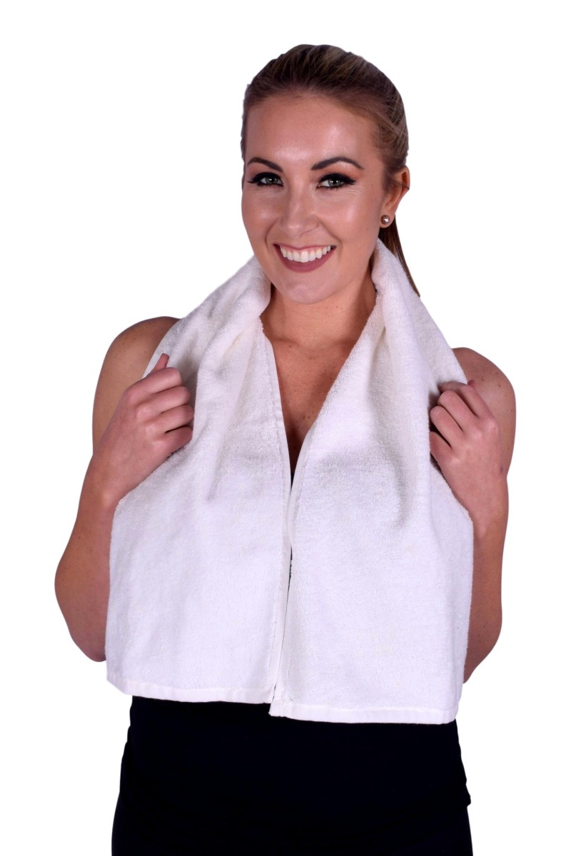 Ivory White Terry Cotton Gym & Fitness Towel (6 pack) (074)