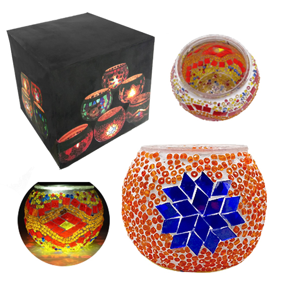 MOSAIC GLASS CANDLE HOLDER 431