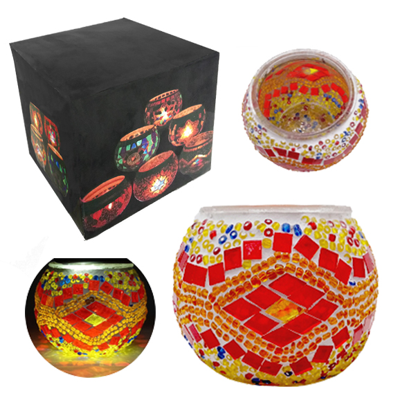 MOSAIC GLASS CANDLE HOLDER 434