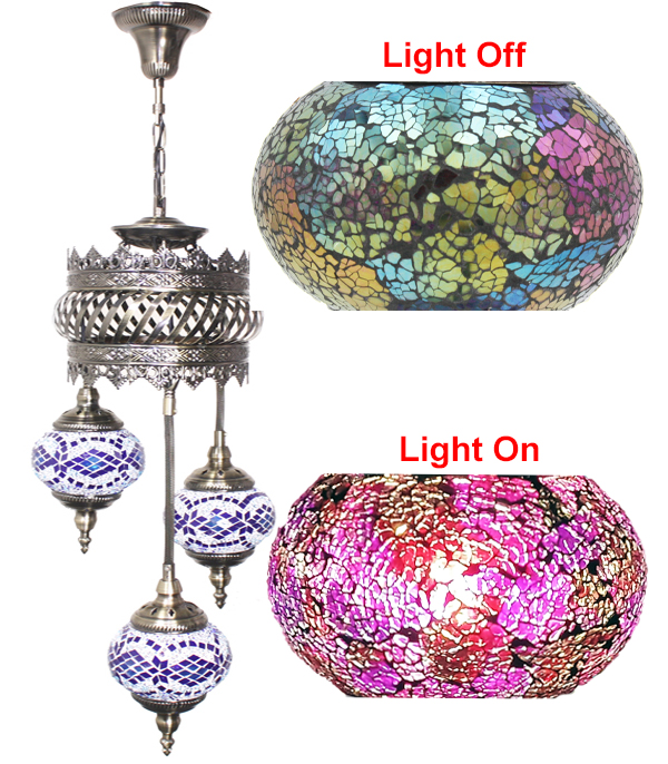 Hand Made Mosaic Glass Lamp - Without Bulb (601)