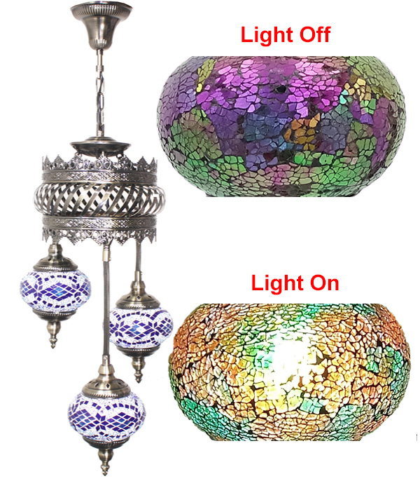 Hand Made Mosaic Glass Lamp - Without Bulb (602)