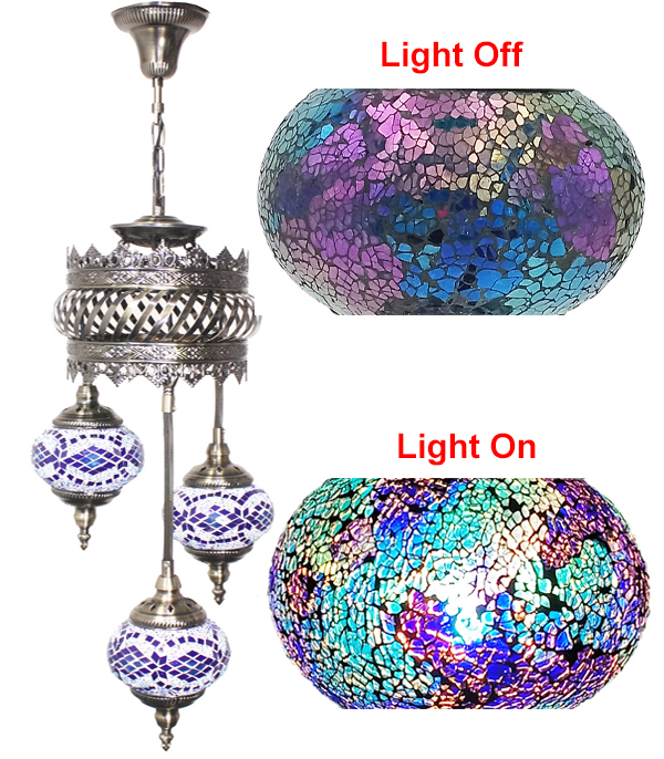 Hand Made Mosaic Glass Lamp - Without Bulb (603)