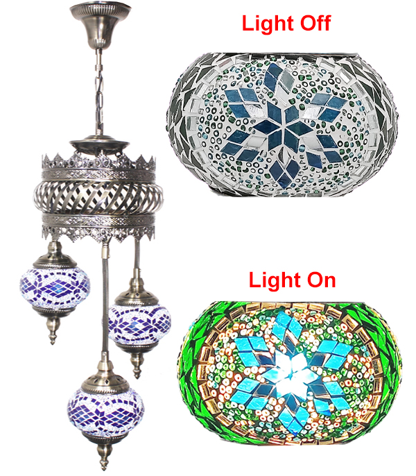 MOSAIC GLASS LAMP 605 ( WITHOUT BULB )