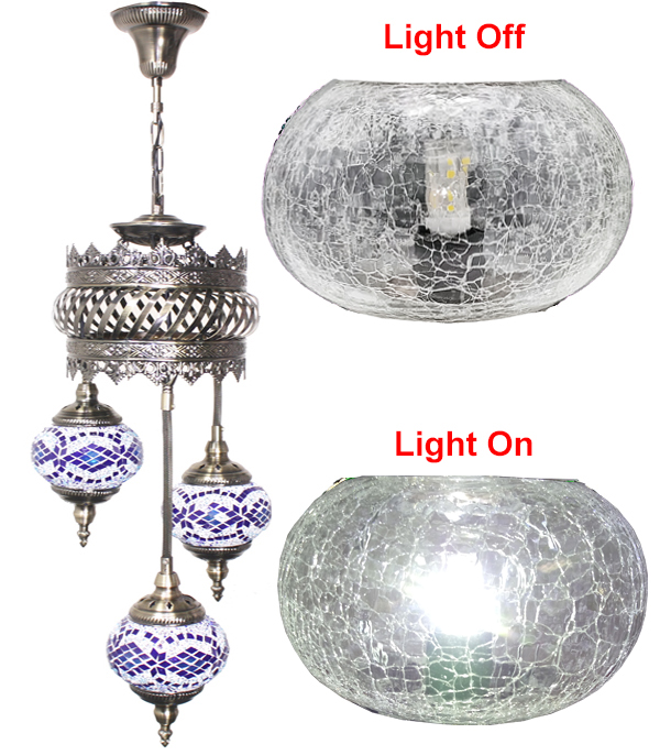 Hand Made Mosaic Glass Lamp - Without Bulb (606)