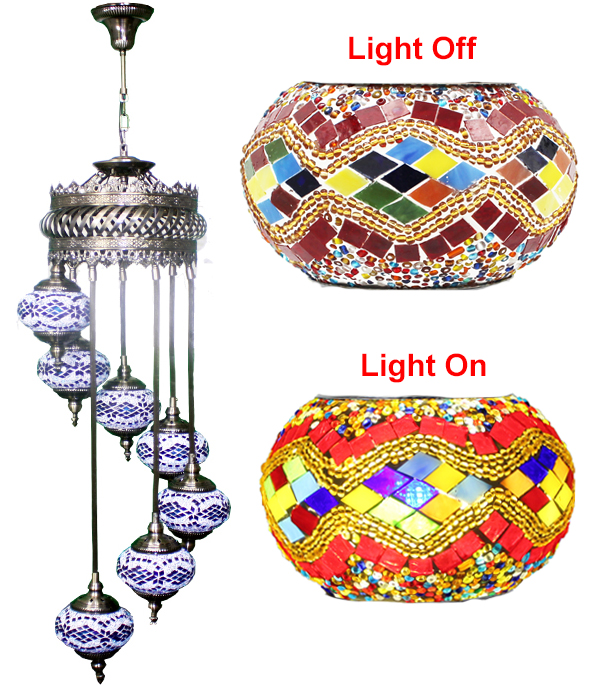 MOSAIC GLASS LAMP 625 ( WITHOUT BULB )