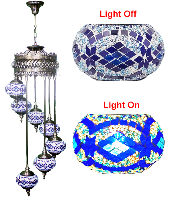 MOSAIC GLASS LAMP 626 ( WITHOUT BULB )