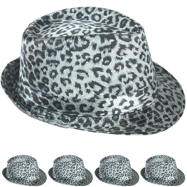 Soft Leopard Print Gray Adult Trilby Fedora Party Hat (055)