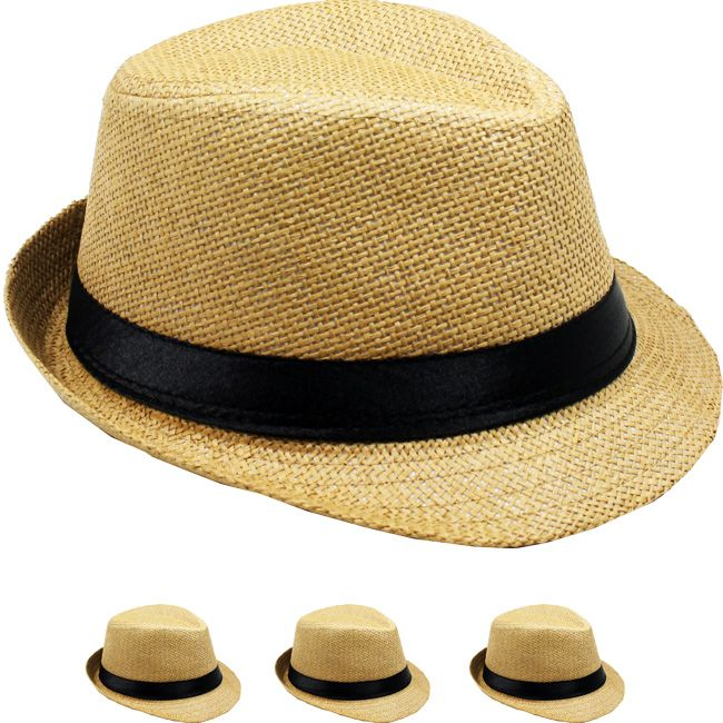 Tan Paper Straw Casual Black Banded Kid Trilby Fedora Hat (009)