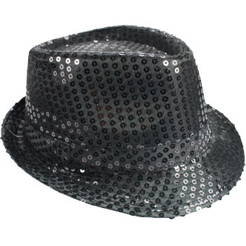 Kid Bling Bling Show Black Sequins Party Fedora Hat (051)