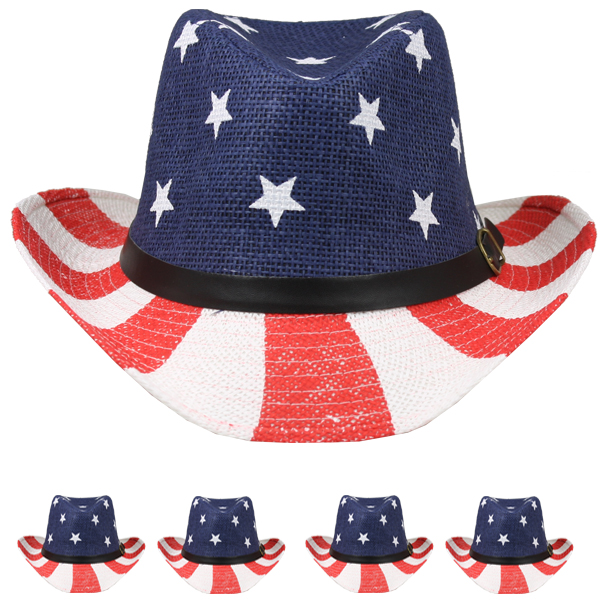 Patriot Day USA Flag Printed Paper Straw Cowboy Hat (036)