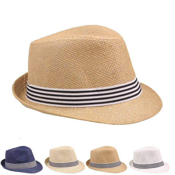 Casual Straw Trilby Fedora Hat with Strip band (033)