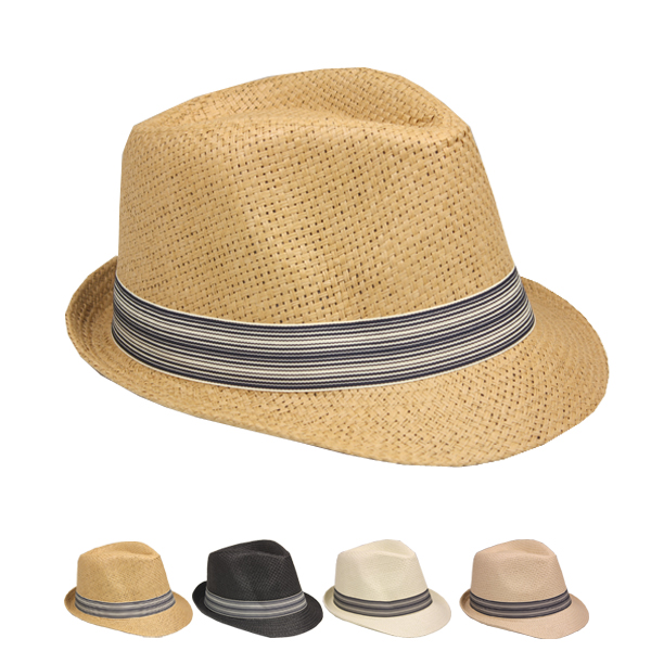 Classic Strip Banded Straw Trilby Fedora Hat Set (130)