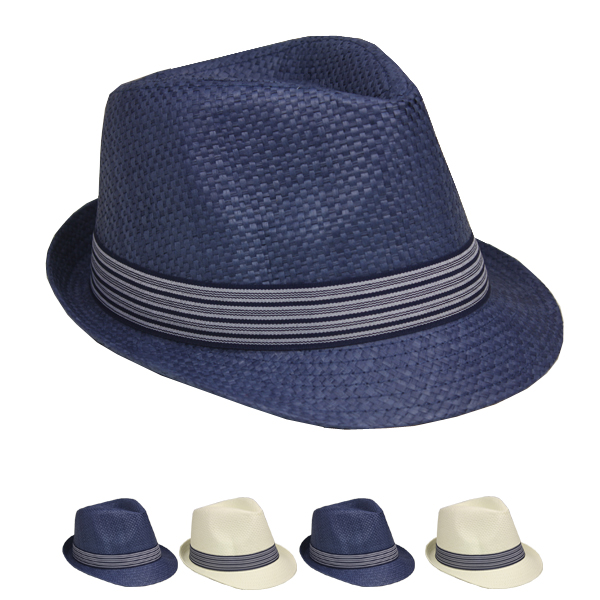Classic Strip Banded Trilby Fedora Hat Set (129)