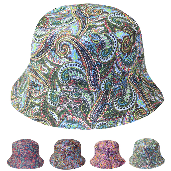 Paisley Print Cotton Twill Woman Bucket Hat (754)