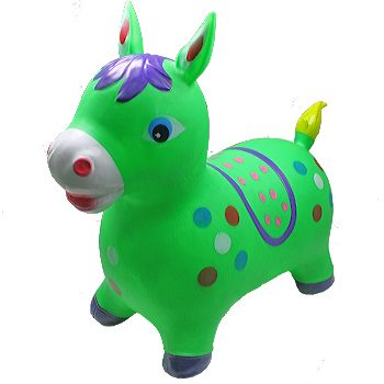BLN 102 INFLATABLE JUMPING GREEN HORSE WITHOUT LIGHT AND SOUND