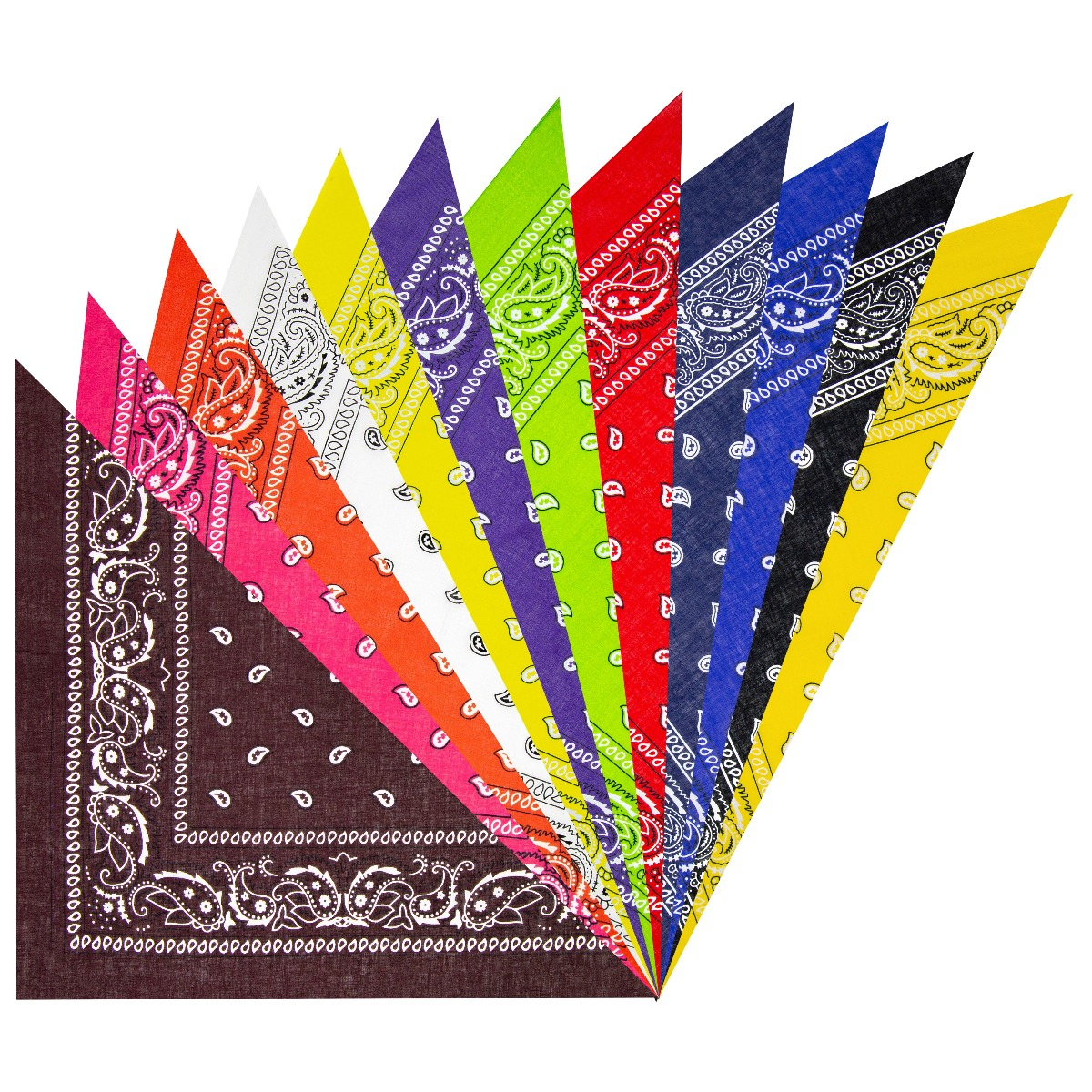 100 % Polyester 12 colors Paisley Print Multicolor Bandana Set (121)