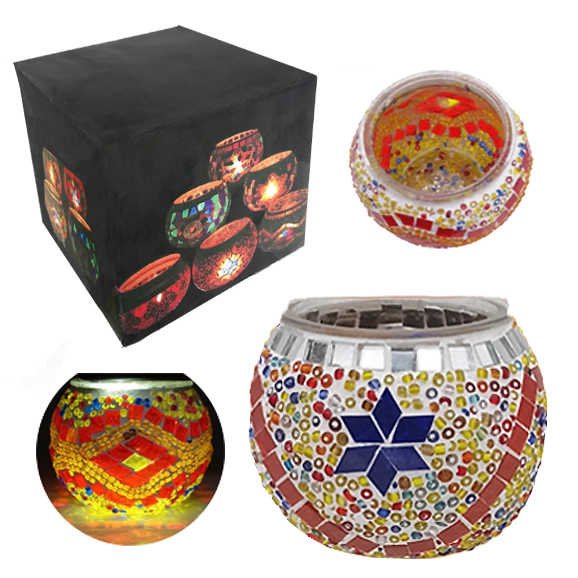 MOSAIC GLASS CANDLE HOLDER 430