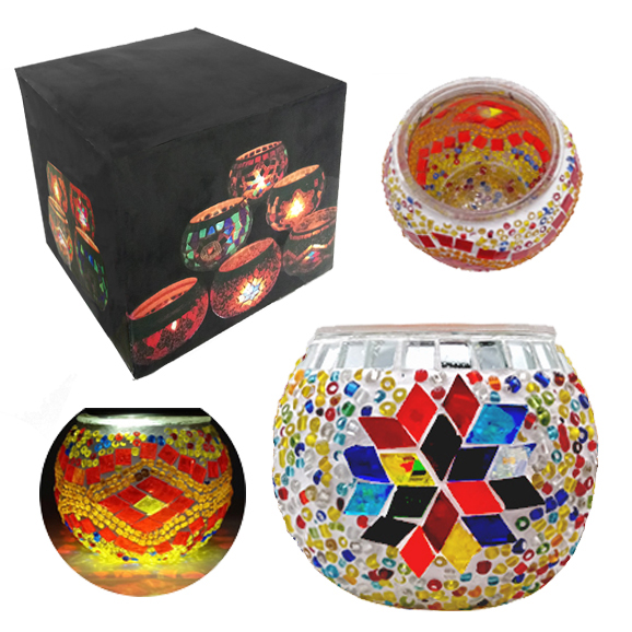 MOSAIC GLASS CANDLE HOLDER 432