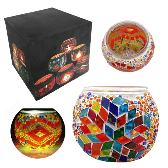 MOSAIC GLASS CANDLE HOLDER 433
