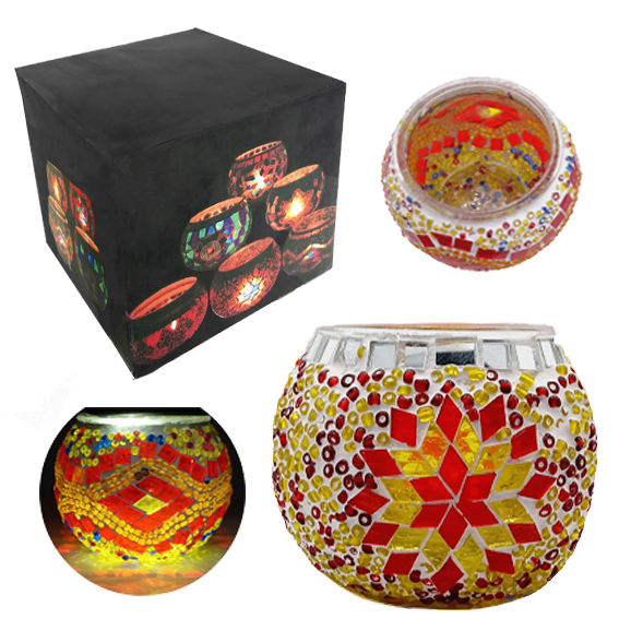 MOSAIC GLASS CANDLE HOLDER 436
