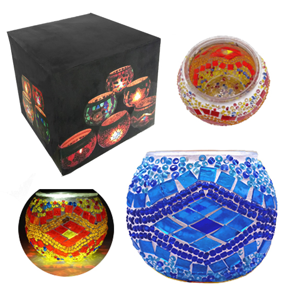 MOSAIC GLASS CANDLE HOLDER 438