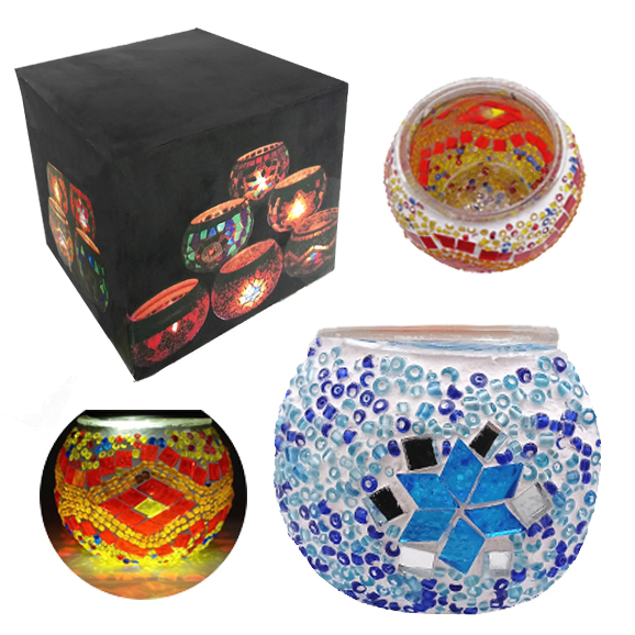 MOSAIC GLASS CANDLE HOLDER 435