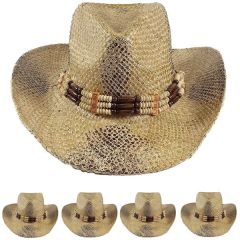 Breathable Straw Brown Cowboy Hat with Beaded Band (049)