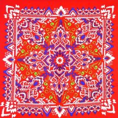 Late Red Paisley Printed Cotton Bandana  (061)