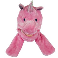 Soft Plush Pink Unicorn Animal Character Built-in Paws Mitten Hat (210)