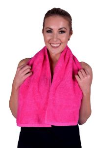 Towel 073 Hot Pink Terry Cotton Gym & Fitness Towel (6 PACK)