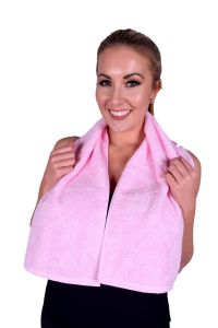 Towel 076 Light Pink Terry Cotton Gym & Fitness Towel (6 PACK)
